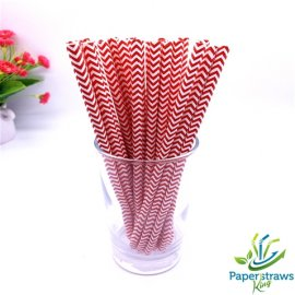 Chevron paper straws thin red waves 200pcs