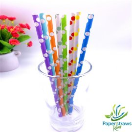 Wholesale polka dot paper straws mixed 8 styles 5000pcs