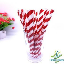 Dark red and white striped drinking paper straws 200PCS