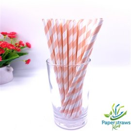 Pink and white striped drinking paper straws 200PCS