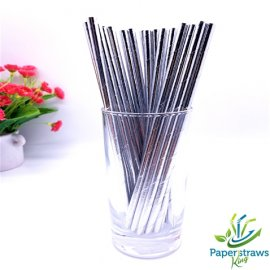 Solid color paper straws metallic silver