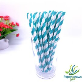 Blue and white striped drinking paper straws 200PCS