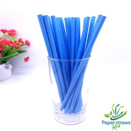 Solid color paper straws all blue 200pcs