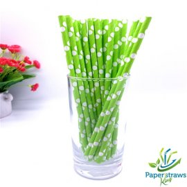 Polka dot paper straws green with white dots 200pcs