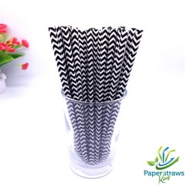 Chevron paper straws black waves 200pcs