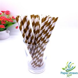 Coffee and white striped drinking paper straws