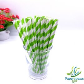 Green apple color striped paper straws 200PCS