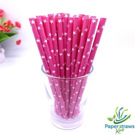 Stars paper straws fuchsia with white stars 200pcs