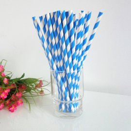Blue white striped paper straws 200PCS