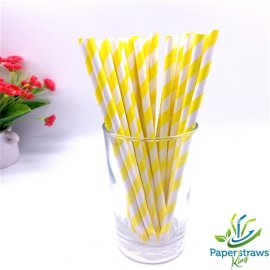 Yellow and white striped drinking paper straws 200PCS