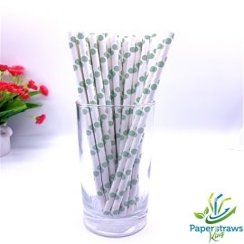 Polka dot paper straws white with light green dots 200pcs.jpg