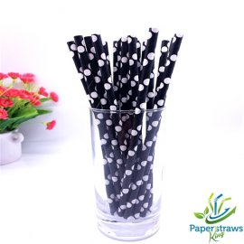 Polka dot paper straws black with white dots 200pcs
