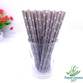 Stars paper straws grey with white stars 200pcs