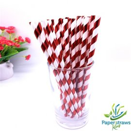 Metallic red striped drinking paper straws 200PCS