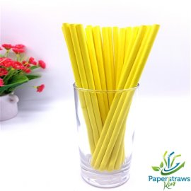 Solid color paper straws full yellow 200pcs