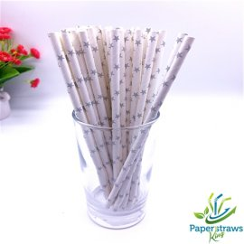 Stars paper straws white with silver stars 200pcs