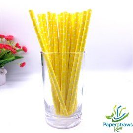 Polka dot paper straws yellow with small white dots 200pcs