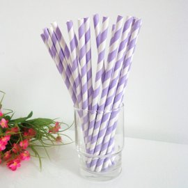 Light purple and white striped drinking paper straws 200PCS