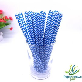 Chevron paper straws blue waves 200pcs