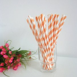 Light orange and white striped drinking paper straws 200PCS