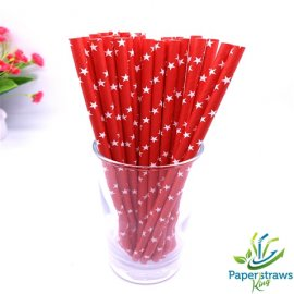 Stars paper straws red with white stars 200pcs