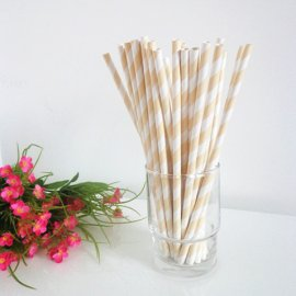 Light yellow and white striped drinking paper straws 200PCS