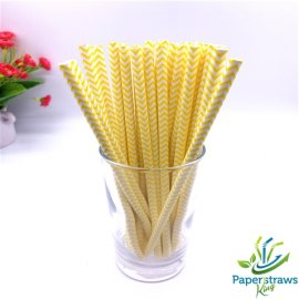 Chevron paper straws thin yellow waves 200pcs