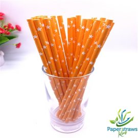 Stars paper straws orange with white stars 200pcs