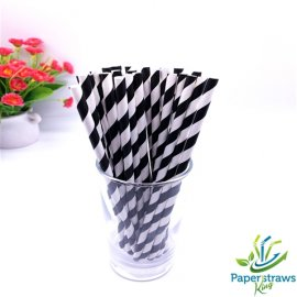 Black and white striped paper straws 200PCS