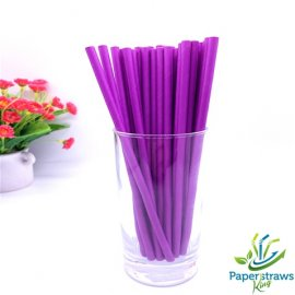 Solid color paper straws all purple 200pcs