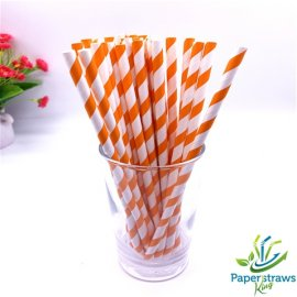 Pumpkin color striped paper straws 200PCS