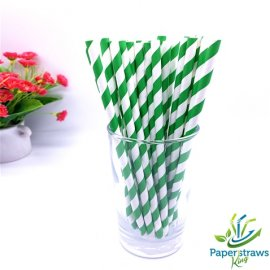 Dark green and white striped drinking paper straws 200PCS
