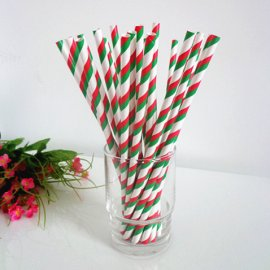 Red green white striped drinking paper straws 200PCS
