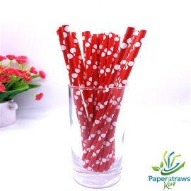 Polka dot paper straws red with white dots 200pcs
