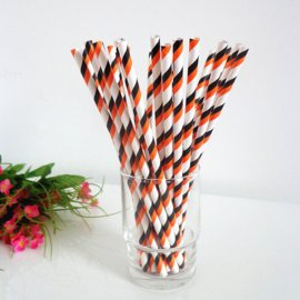 Black orange white striped drinking paper straws 200PCS