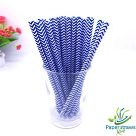 Chevron paper straws thin navy waves 200pcs