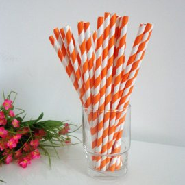 Orange and white striped drinking paper straws 200PCS