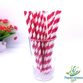 Red and white striped drinking paper straws 200PCS