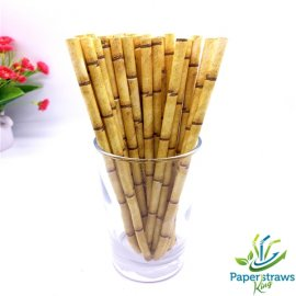 Yellow Bamboo Drinking Paper Straws 200pcs