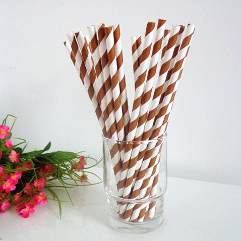 Coffee and white striped drinking paper straws 200PCS