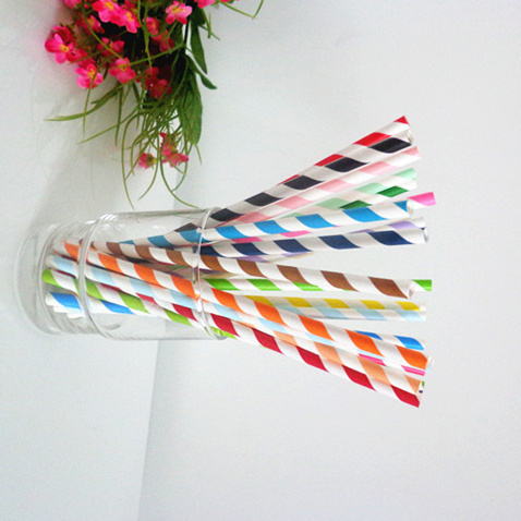Mixed striped drinking paper straws 200PCS
