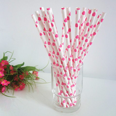 Polka dot paper straws white with pink hearts 200pcs