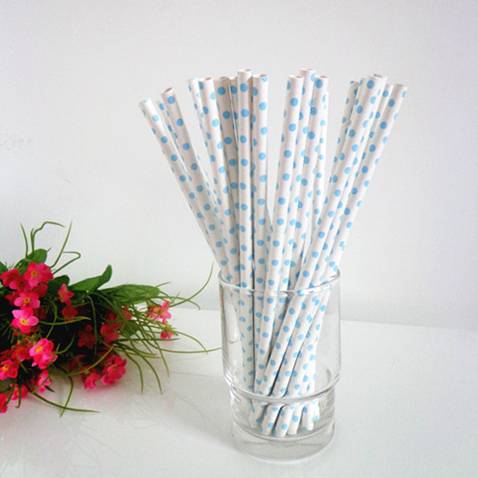 Polka dot paper straws white with small light blue dots 200pcs