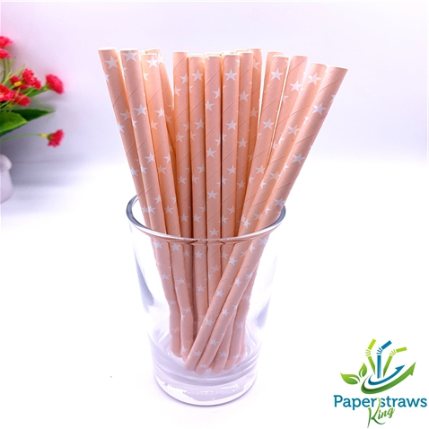 Stars paper straws light orange with white stars 200pcs