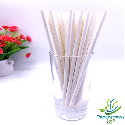 Wholesale solid color all white paper straws 5000pcs