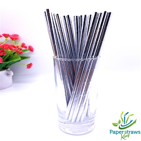 Wholesale solid color metallic silver paper straws 5000pcs