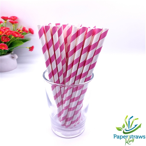 Pink and white striped drinking paper straws