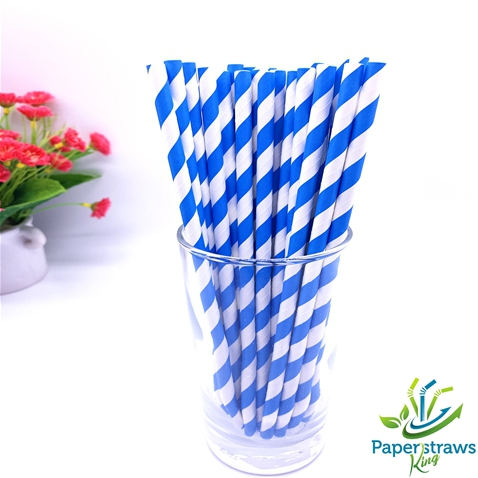 Dark blue and white striped drinking paper straws 200PCS