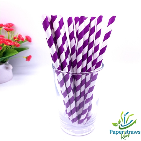 Dark purple and white striped drinking paper straws 200PCS