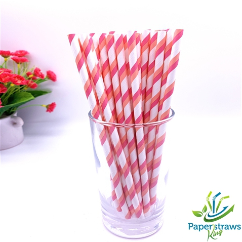 Double pink white striped drinking paper straws 200PCS